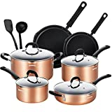 EPPMO Nonstick 12 Pieces Cookware Set, Copper Pots and Pans With Stay Cool Silicone Handle, Dishwasher Safe & Induction Compatible (Kitchen)