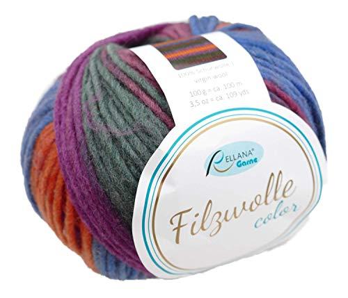 Rellana Filzwolle Color Fb. 124, Filzwolle zum Stricken blau grün orange, mit Farbverlauf …