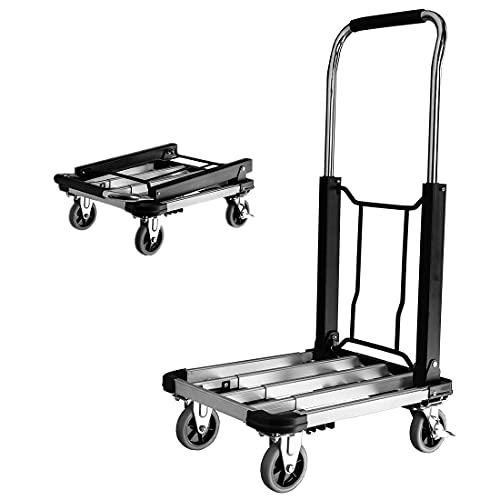 Foldable Push Cart, Heavy Duty Aluminum Alloy Platform Cart Folding Platform Hand Truck for Luggage Baggage Moving Transportation, 4-Wheel, 330-LB Capacity