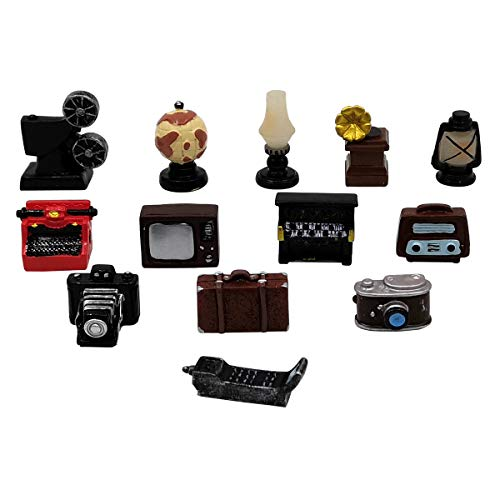EMiEN 13PCS Old Fashioned Retro Mini Dollhouse Miniature Home Appliances Models Kit, Piano,Phonograph,Television,Radio,Camera,Projector,Typewriter,Luggage... for Dollhouse Room Decoration