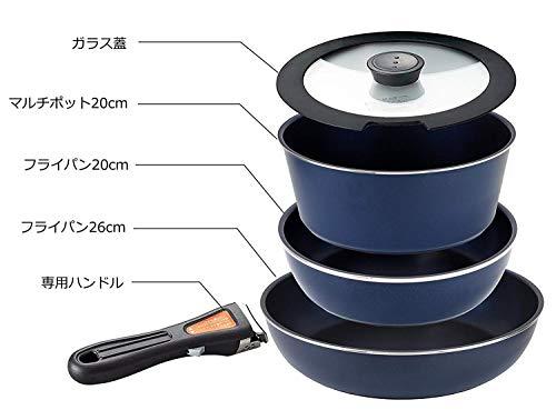 パール金属フライパン鍋5点セットIH対応ダークブルーダイヤモンドコート取っ手の取れるセット5HB-3975