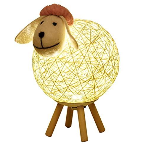 WINBST Lámpara de mesa LED con forma de luna, ratán, oveja, USB, oveja, luna, arte, brillo ajustable, luz de luna, dormitorio, salón