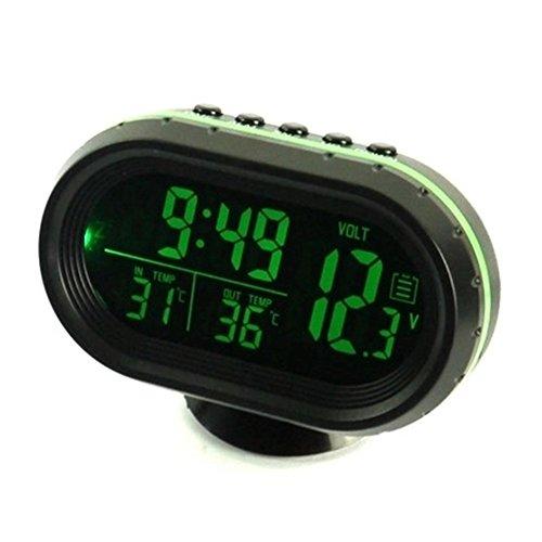 relangce Auto Uhr Thermometer Voltmeter Multifunktion, KFZ Spannungs Anzeige, Temperatur Messgerät, Zigarettenanzünder Batterie Tester, LED Digital Leuchtende Uhr, Hintergrundbeleuchtung 12V (grün)