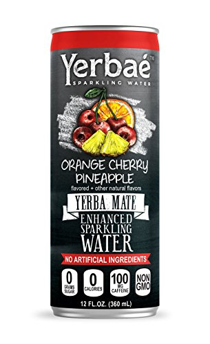 Yerbaé Enchanced Sparkling Water Orange Cherry Pineapple, 12 Oz. Cans (Pack of 9)