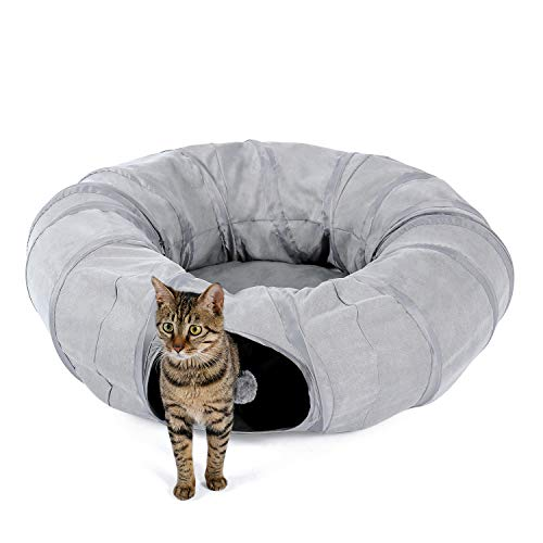 PETEPELA Cat Tunnel Bed with Central Mat, Cat Toy with Hanging Balls and Peek Hole for Cats Grey Pet Tunnels