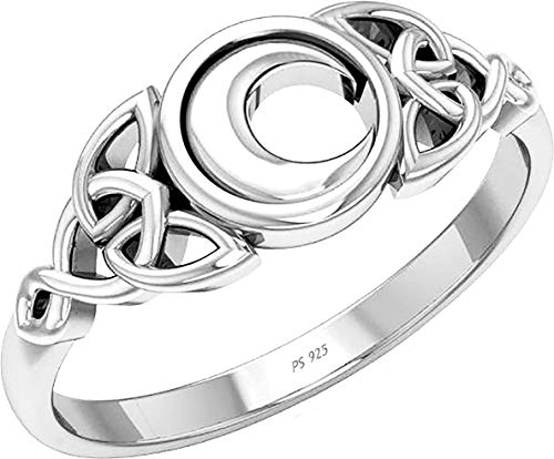 US Jewels Ladies 0.925 Sterling Silver Irish Celtic Trinity Knot & Moon Ring, 6.5