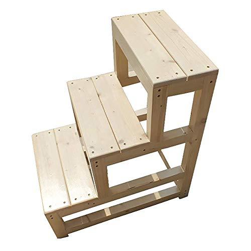 Stairstool 3-geschiedenis bibliotheek ladder stoel, houten slaapkamer ladder, anti-slip kap in de studiekast, 70 cm hoog 50 × 60 × 70 cm.