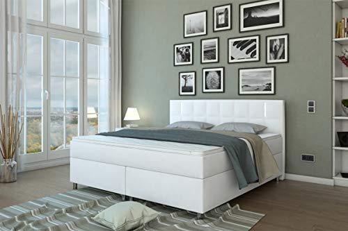 SalesFever LED-Boxspringbett 180 x 200 cm Julien | Weiß Kunstleder | H3 Bonellfederkern-Matratze | hochwertiger 4 cm Topper | FSC® 100%