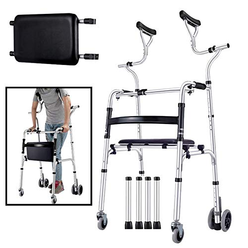 Gehgestell, Verstellbarer aufrecht stehender Walker mit 4 Rädern, große Erwachsene Senioren Menschen mit Behinderung Rolling Rollator, Last 180 kg, Platzsparer