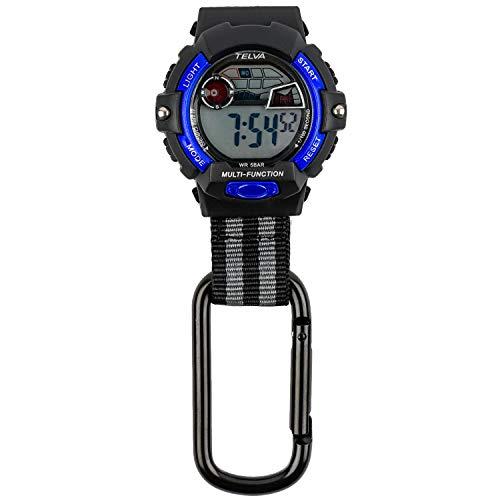 [クレファー] 懐中時計 カラビナウォッチ デジタル 防水 ストップウォッチ ライト 付き ブラック ブルー CB-D239-BKL