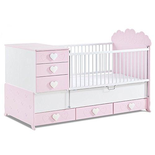 Meegroeiend babybed Little Princess met inklapbaar zijrooster in roze