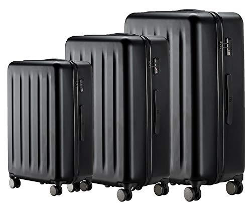 90FUN 3-teiliges Kofferset I leichte Hartschalen Trolleys mit TSA Zahlenschloss und 4 Rollen I Größen S/M/L, Schwarz