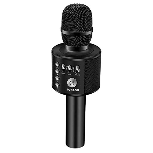 BONAOK Wireless Bluetooth Karaoke Microphone,3-in-1 Portable Handheld karaoke Mic Speaker Machine Christmas Birthday Home Party for Android/iPhone/PC or All Smartphone(Q37 Black)