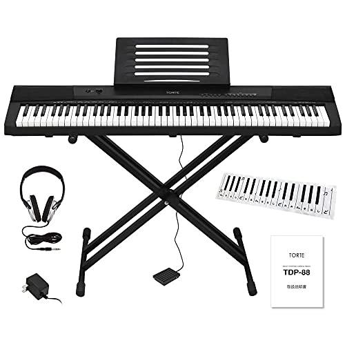 TORTE トルテ 電子ピアノ 88鍵盤 フルスケール 日本語表記 140ボイス 軽量スリム設計 TDP-88/BK バリューセット (スタンド/ヘッドフォン/鍵盤デザインクロス/サスティンペダル/譜面立て/電源アダプター付属)