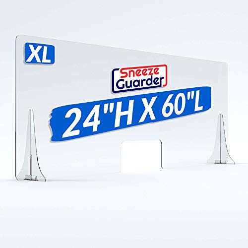 """XL 24""""H x 60'L Plexiglass Sneeze Guard for Desk Counter, Double-Side Tape Base Stabilizers 