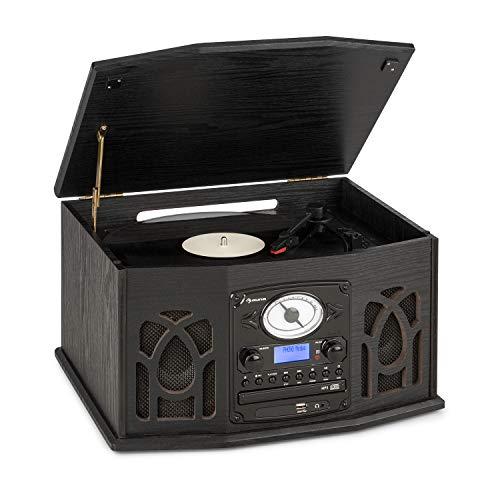 auna NR-620 Dab Equipo estéreo - Tocadiscos con 33 y 45 RPM, Lector de CD, Grabadora de Cassettes, Radio, Bluetooth, Puerto USB, Fácil de Grabar y Lee CD, CD-R/RW y MP3, Diseño de Madera, Negro