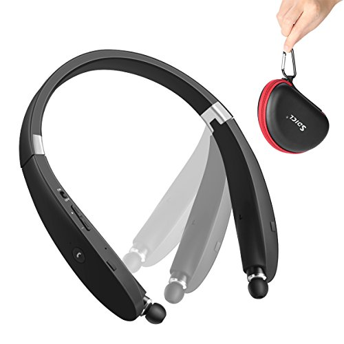 Bluetooth Headphones SDICL Wireless Neckband Sports Headsets with Retractable Earbuds Sweatproof Noise Cancelling Stereo Earphones (991 Black)