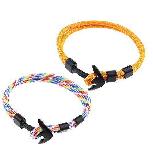 OTOTEC 2 stks Modieuze Comfortabele Nautische Mannen Vrouwen Polyester Touw Anker Leger Surfer Armbanden Polsband 8.3