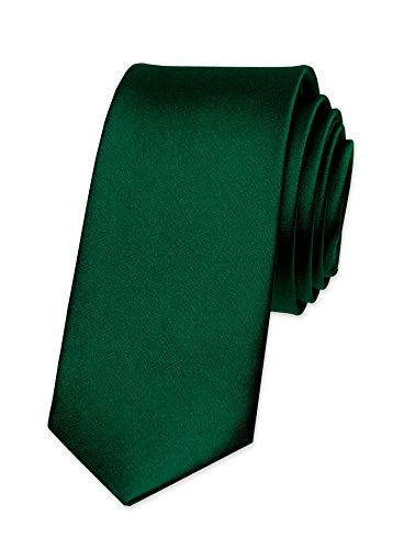 Autiga Krawatte Herren Hochzeit Konfirmation Slim Tie Retro Business Schlips schmal, Dunkelgrün, unisize