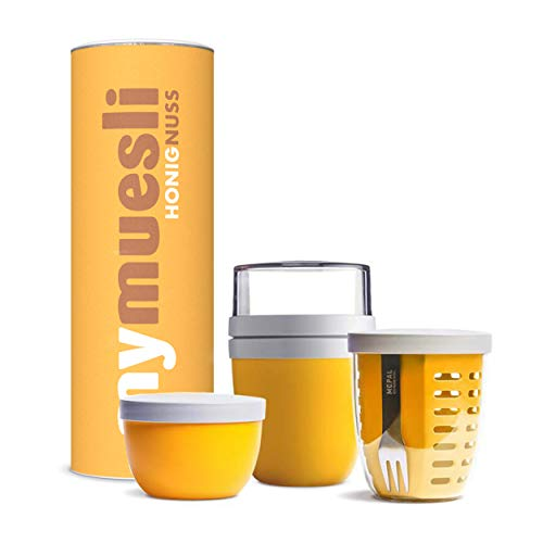 mymuesli Meal Prep Müsli-Paket gelb - 2go Becher, Fruitpot, Snackpot & Honey Nut Bio-Müsli (575g)