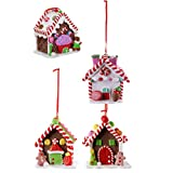 NUOBESTY 4Pcs Christmas Gingerbread Candy House Hanging Ornament Christmas Tree Mini House...