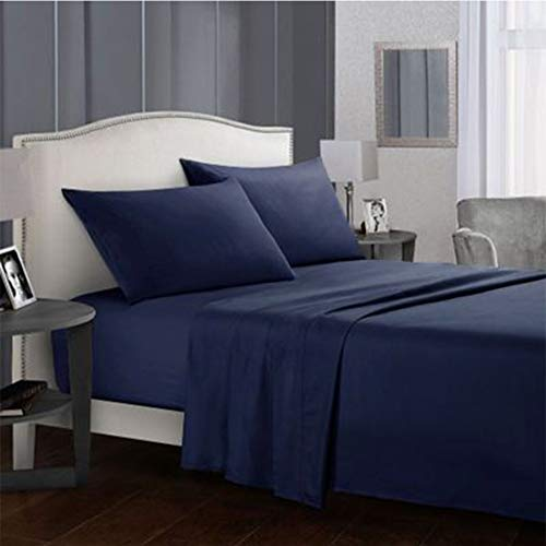 Deep Pocket Bed Sheets, Bed Sheets with Fitted and Flat Sheet, Pillow Cases, 4pcs Extra Soft Bedding Bed Sheets Set - Wrinkle and Hypoallergenic Navy Blue-California King