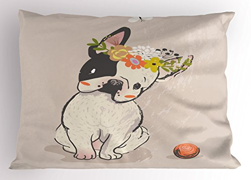 Lunarable Dog Pillow Sham, Hand Drawn French Bulldog with Wreath on Its Head Watercolor Domestic Pet Illustration, Decorative Standard Size Printed Pillowcase, 26' X 20', Multicolor