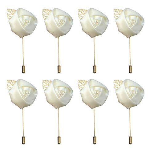 Amyseller 8 pièces Revers Fleur Pin, Boutonnière Fleur Homme pour Mariage Mariée Prom Costume (Creamy)