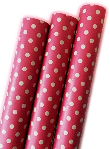 Premium Geschenkpapier Retro Ökologisches Recycling Papier 3 Rollen a`2m x 70cm Natur Geschenkverpackung für Weihnachten Geburtstag Kraftpapier (Punkte Rot)