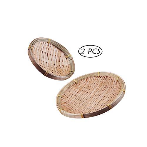 Hebudy Rieten Manden Ronde Houten Platen 13 cm/20 cm Geweven Bamboe Serveerschalen voor voedsel opslag Container Hamper 2 PCS