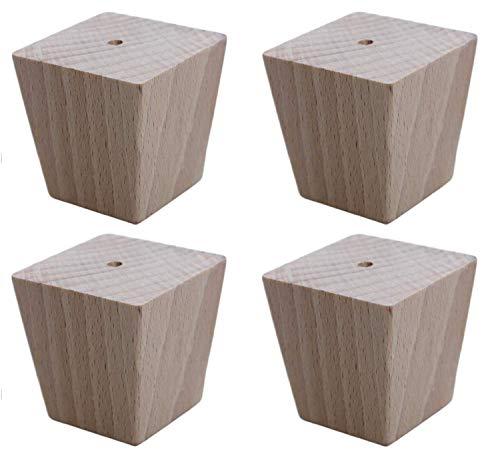 Moebelfusse Holz 4 x 45-35 mm/H=50mm Möbelfüße Trapez Holz Möbelfuß Schrankfüße Schrankfuß Sofas Tische Betten BUCHEN HOLZ