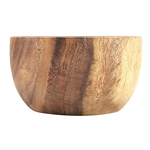Cuenco de madera, cuenco de ensalada de madera de acacia sólida hecha a mano, cuenco de madera...