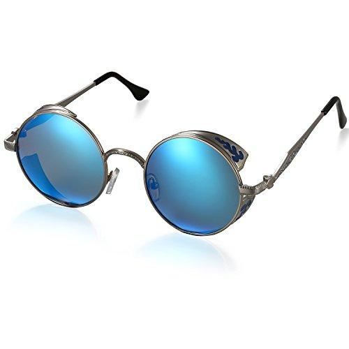 Aroncent Gafa de Sol Polarizada contra UV400 Punk Rock Sunglasses Lente Redonda Protección de Ojos para Golf, Conducción, Viaje, Playa y Actividades Exteriores para Hombre Mujer (Azul)