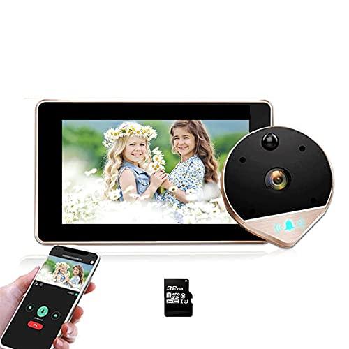 Video WiFi Visor de la Puerta de la Puerta de la Puerta 1080P Cámara de la Mirilla de 170 ° Visión Nocturna con Pantalla LCD de 4.3 Pulgadas para la Seguridad del hogar (Color : Doorbell 32G Golden)