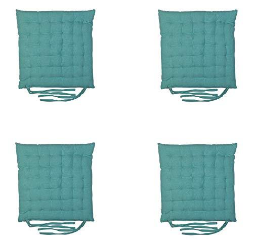 Homevibes Stuhlkissen mit Schleifen, 4er-Set Kissen für Innen oder Außen, 100{f4b514b9e17adc1adbeec71a999df2d3b5045da596def48e8274e82f208d0ff2} Baumwolle, Maße 40 x 40 x 5 cm, verschiedene Designs zur Dekoration Ihres Zuhauses (grün)