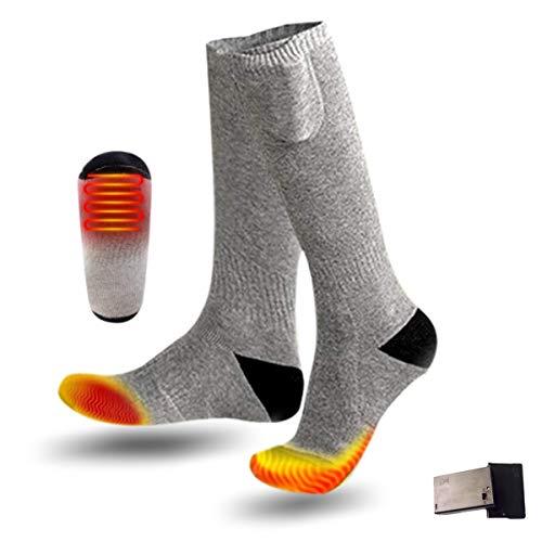KEMOO Chaussettes chauffantes électriques pour homme et femme - Chaussettes d'hiver chaudes en coton pour sports de plein air - Camping, pêche, vélo, moto, patinage et ski (gris)