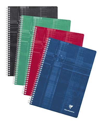 Clairefontaine 68161C Spiralbuch (DIN A4, 21 x 29,7 cm, französische Lineatur, 90 Blatt) 5 Stück farbig sortiert