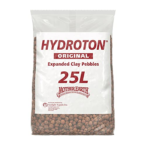 Mother Earth Products HGC714114 Hydroton Original Expanded Clay Pebbles, 25 Liter, Terra Cotta