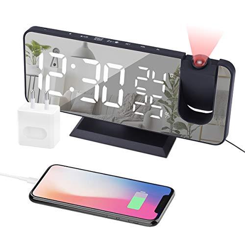 EVILTO - Radio despertador con proyección FM, despertador electrónico multifuncional, pantalla espejo, doble alarma, pantalla de temperatura y humedad, 4 niveles de luminosidad con enchufe EU-negro