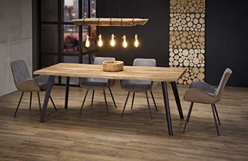 LUENRA Mesa de comedor rectangular Dickson de madera, ancho (extensible) 150-210 x profundidad 90 x altura 75 cm, color madera natural, patas negras