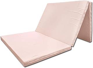 【日本製ウレタン使用】 マットレス シングル 三つ折り ピンク 厚み約5cm 全面90ニュートン(かたさ:ふつう) 軽量 コンパクト ≪敷き布団の下に敷いて寝心地アップ≫ ≪車中泊・仮眠にも ≫ 91×192cm