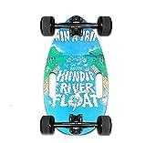 Mini Longboard Cruiser Skateboards -Petite Planche pour Adultes et Enfants avec Un Large Plateau de Skateboard de 17,5 Pouces en érable et de Grandes Roues de Longboard pour débutants (Blue)