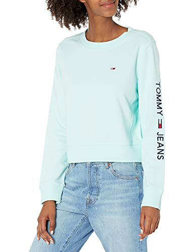 Tommy Hilfiger Damen Dot Crewneck Sweatshirt Pullover mit Logo-Ärmel, Gebleichte Aqua, Large