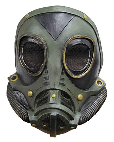 Horror-Shop Steampunk Latex Gasmaske SciFi Halbmaske grün