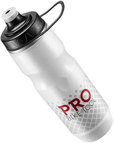 PRO BIKE TOOL Isolierte Fahrrad-Trinkflasche 680 ml, Bonus Sport-Trageschlaufe - zum Radfahren & Fitness - hält Getränke länger kalt, weiches Silikon-Mundstück - BPA-frei (Weiss)