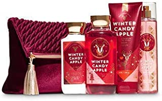 Bath and Body Works WINTER CANDY APPLE Holiday Traditions Cosmetic Bag Gift Set - Body Lotion - Body Cream - Fragrance Mist and Shower Gel - Full Size