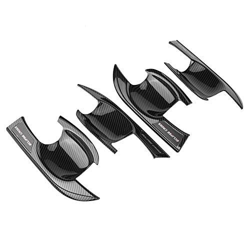 KIMISS 4 pièces Couvercle de Poignée Porte Garniture de Cadre Bol de Poignée Extérieure pour croix 17-18(Fibre de carbone)