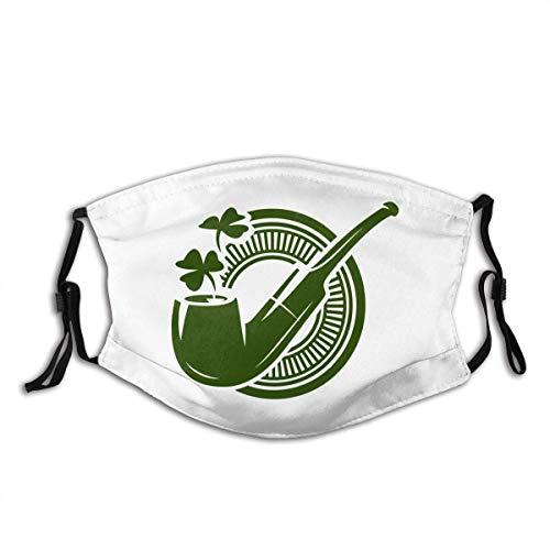 Gooeyokoi Mundschutz mit Filter Waschbar Atmungsaktive Staubdicht Bandana Pfeife mit Kleeblatt
