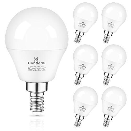 Ceiling Fan Light Bulb E12 LED Bulb 4000K Natural Daylight Candelabra LED bulb 60 Watt Equivalent Hansang Chandelier Light Bulbs A15 Shape Candelabra Base for Ceiling Lights,600LM, Non-Dimmable 6 Pack