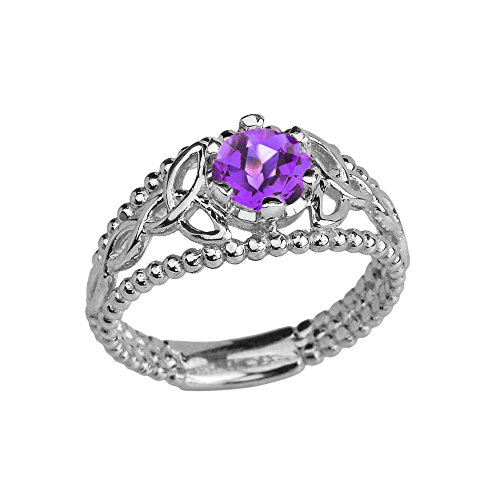 Sterling Silver Modern Beaded Celtic Trinity Knot Engagement Ring with Genuine Amethyst (Size 10)